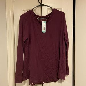 NWT Purple Long Sleeve Shirt with Polka Dot Detail